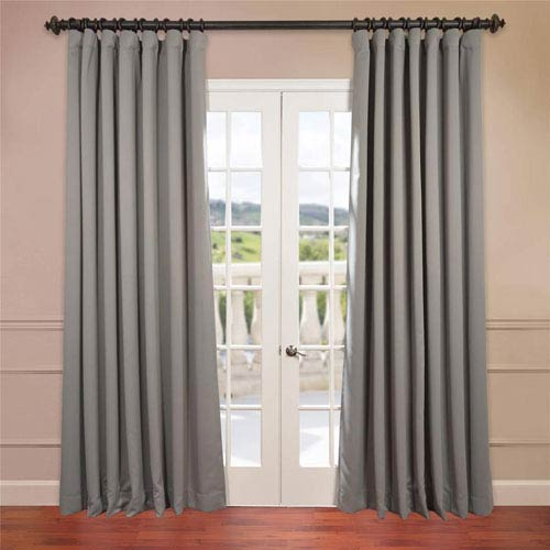 Half Price Drapes Grey 120 x 100-Inch Double Wide Blackout Curtain Single Panel