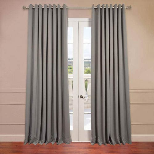 Half Price Drapes Grey 96 x 100-Inch Double Wide Grommet Blackout Curtain Single Panel