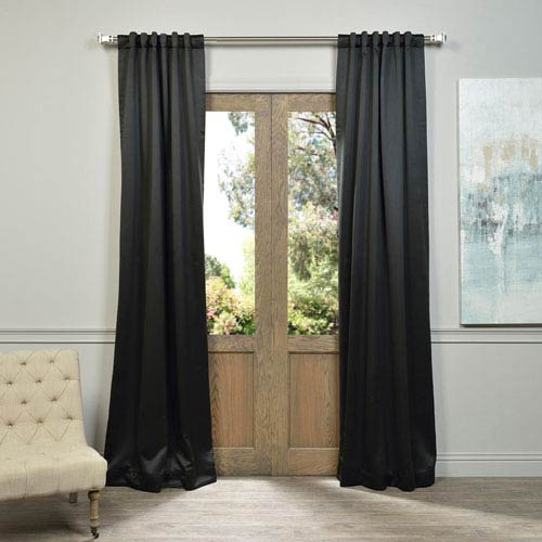 Half Price Drapes Jet Black 50 x 120-Inch Blackout Curtain Pair 2 Panel