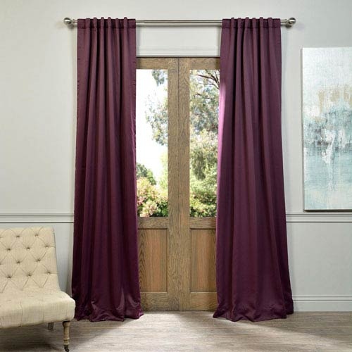 Half Price Drapes Aubergine Purple 50 x 108-Inch Blackout Curtain Pair 2 Panel