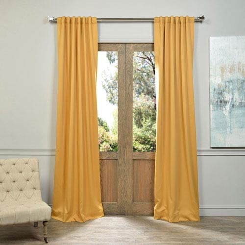 Half Price Drapes Marigold Yellow 50 x 84-Inch Blackout Curtain Pair 2 Panel