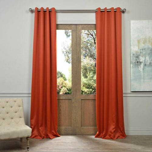 Half Price Drapes Blaze Orange 84-Inch Blackout Curtain Pair 2 Panel