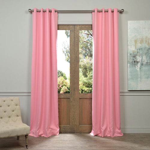 Precious Grommet Pink 50 x 96-Inch Blackout Curtain Pair 2 Panel