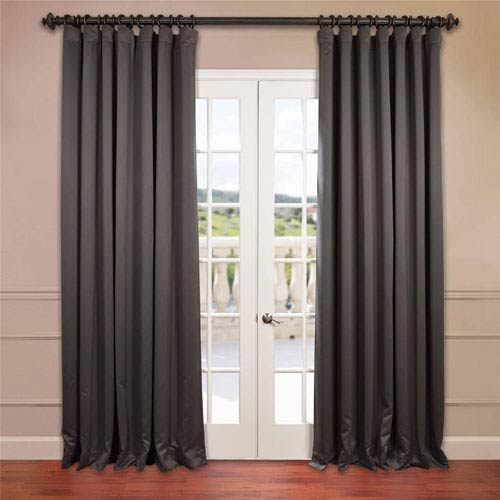 Half Price Drapes Charcoal 108 x 100-Inch Double Wide Blackout Curtain Single Panel