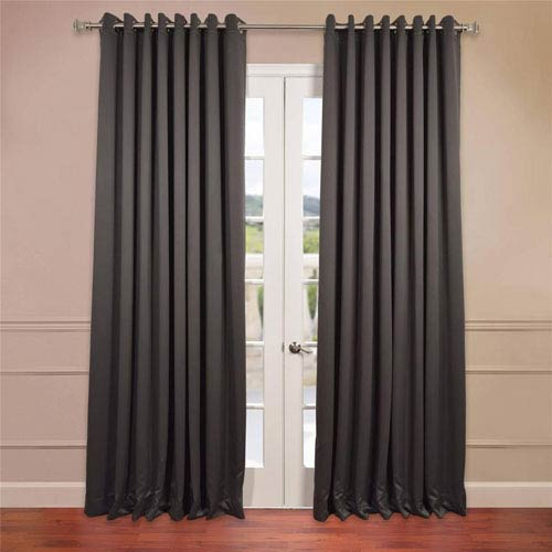 Half Price Drapes Charcoal 108 x 100-Inch Double Wide Grommet Blackout Curtain Single Panel
