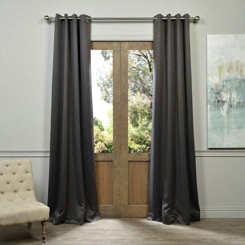 Half Price Drapes Charcoal 120 x 50-Inch Grommet Blackout Curtain Panel Pair