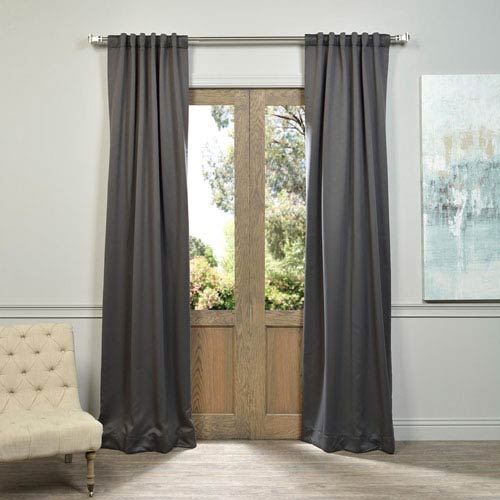 Half Price Drapes Charcoal 84 x 50-Inch Blackout Curtain Panel Pair