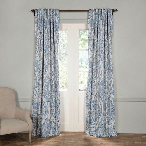 Half Price Drapes Tea Time China Blue 120 X 50 Inch Blackout Curtain