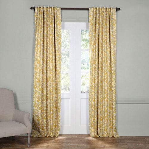 Half Price Drapes Abstract Yellow 84 x 50-Inch Blackout Curtain
