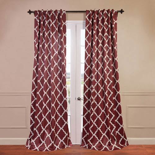 Half Price Drapes Trellise Red 50 x 108-Inch Blackout Curtain
