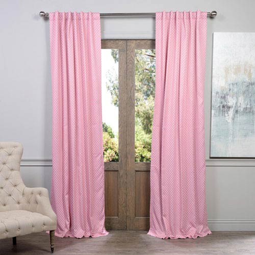 Half Price Drapes Polka Dot Pink 50 x 96-Inch Blackout Curtain