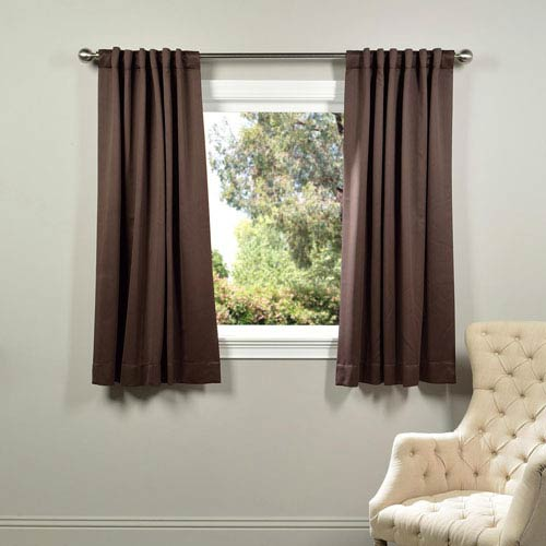 Half Price Drapes Brown 63 x 50-Inch Blackout Curtain Panel Pair