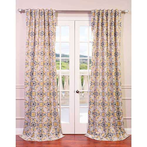 Half Price Drapes Soliel Gray and Yellow 108 x 50-Inch Blackout Curtain Single Panel