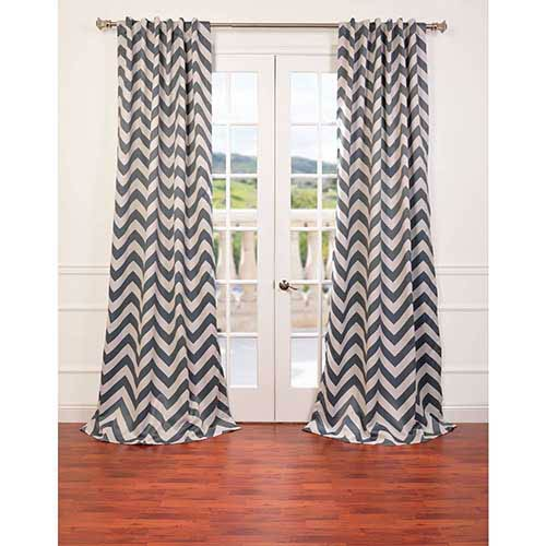 Half Price Drapes Fez Gray and Tan 96 x 50-Inch Blackout Curtain Single Panel