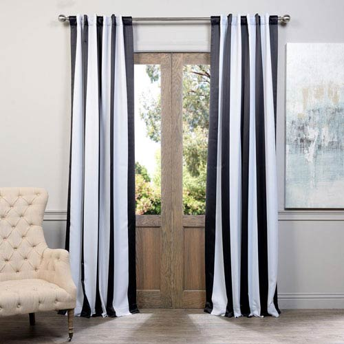 Half Price Drapes Awning Black and White Stripe 84 x 50-Inch Blackout Curtain Single Panel