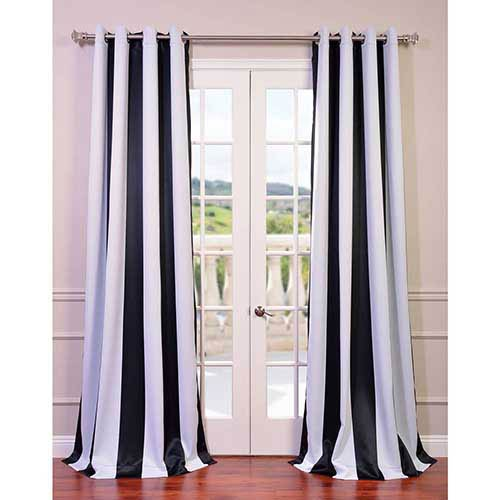 Half Price Drapes Awning Black and White Stripe 84 x 50-Inch Curtain Single Panel