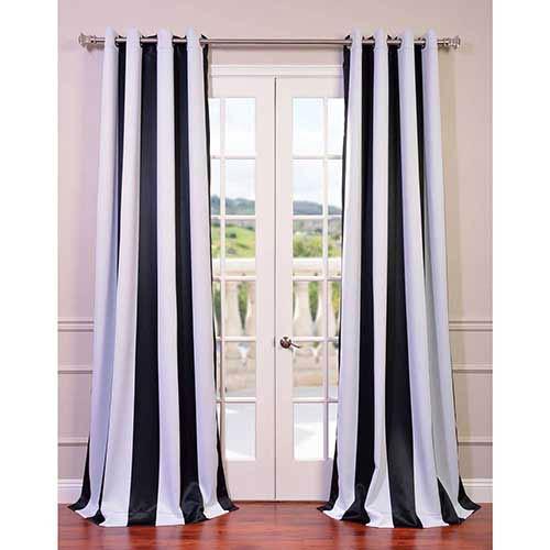 Half Price Drapes Awning Black and White Stripe 96 x 50-Inch Curtain Single Panel