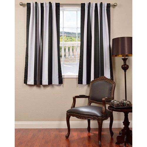 Awning Black and White Stripe 63 x 50-Inch Blackout Curtain Single Panel