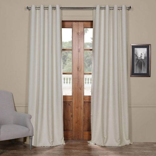 Half Price Drapes Bellino Cottage White 84 x 50-Inch Grommet Blackout Curtain Single Panel