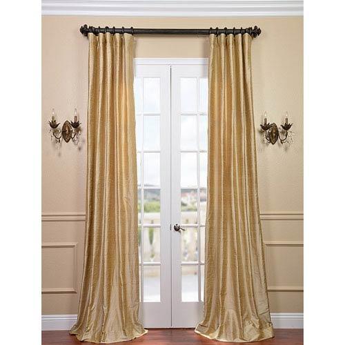 Half Price Drapes Biscotti Textured Dupioni Silk Single Panel Curtain, 50 X 120