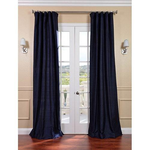 Navy Textured Dupioni Silk Single Panel Curtain, 50 X 108