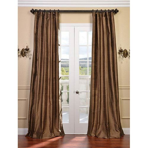 Half Price Drapes Mocha Gold Textured Dupioni Silk Single Panel Curtain, 50 X 84