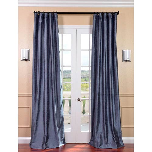 Half Price Drapes Winter Blue Textured Dupioni Silk Single Panel Curtain, 50 X 96