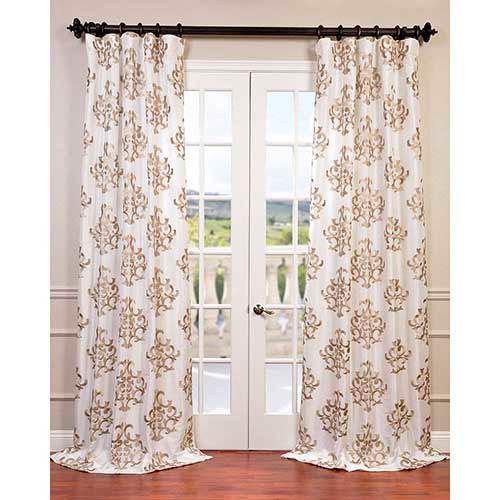 Half Price Drapes Ankara White 84 x 50-Inch Embroidered Faux Silk Taffeta Curtain Single Panel