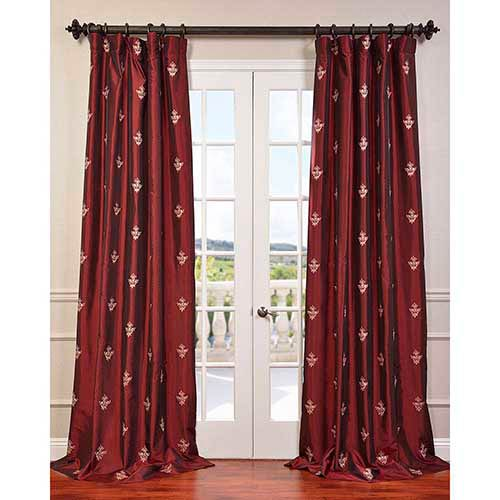Trophy Red 84 x 50-Inch Embroidered Faux Silk Taffeta Curtain Single Panel