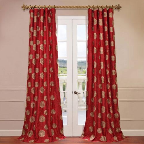 Zen Garden Red Embroidered Curtain Sample Swatch