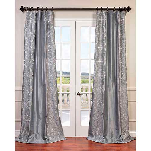 Chai Silver 120 x 50-Inch Embroidered Faux Silk Taffeta Curtain Single Panel