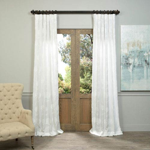 Ginko White Embroidered Faux Linen Sheer Curtain Sample Swatch