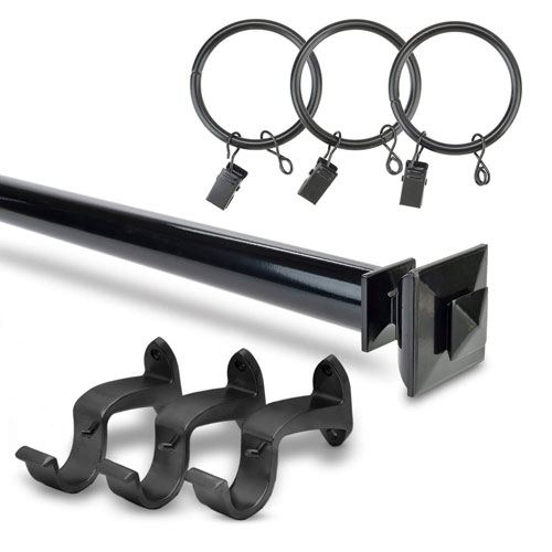 Stacked Square Black 52 to 144-Inch Curtain Rod Set