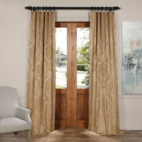 Magdelena Beige and Gold 50 x 120-Inch Faux Silk Jacquard Curtain