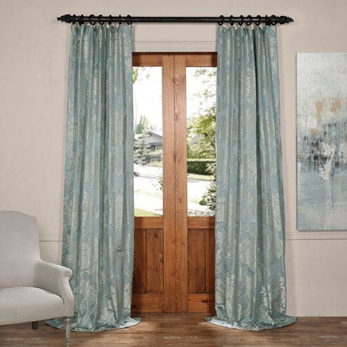 Magdelena Steel Blue and Silver 50 x 96-Inch Faux Silk Jacquard Curtain