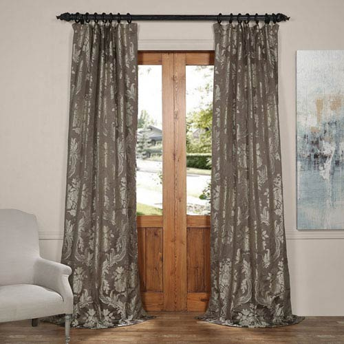 Half Price Drapes Magdelena Slate and Silver 50 x 120-Inch Faux Silk Jacquard Curtain