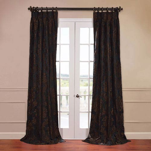 Half Price Drapes Magdelena Black 50 x 84-Inch Jacquard Curtain