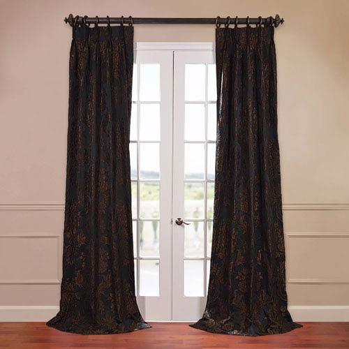 Half Price Drapes Magdelena Black 50 x 96-Inch Jacquard Curtain