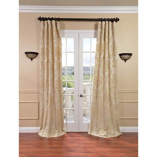 Half Price Drapes Magdelena Champagne Faux Silk Jacquard Single Panel Curtain, 50 X 120