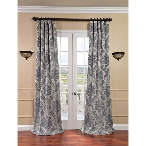 Magdelena Silver and Blue Faux Silk Jacquard Single Panel Curtain, 50 X 120