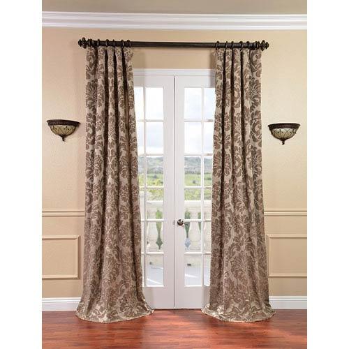 Half Price Drapes Astoria Taupe and Mushroom Faux Silk Jacquard Single Panel Curtain, 50 X 108