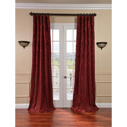 Half Price Drapes Astoria Red and Bronze Faux Silk Jacquard Single Panel Curtain, 50 X 96