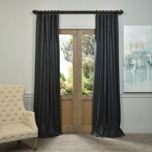 Charcoal Linen Curtain Sample Swatch