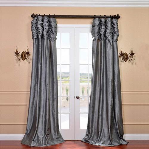 Ruched Platinum 108 x 50-Inch Faux Silk Taffeta Curtain Single Panel
