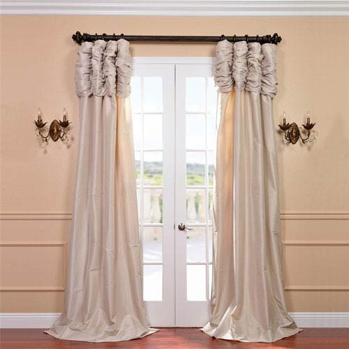 Ruched Antique Beige 84 x 50-Inch Faux Silk Taffeta Curtain Single Panel