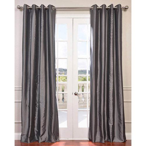 Graphite 96 x 50-Inch Grommet Blackout Faux Silk Taffeta Curtain Single Panel