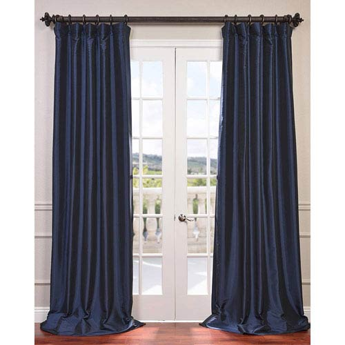 Navy Blue 96 x 50-Inch Blackout Faux Silk Taffeta Curtain Single Panel