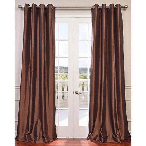 Copper Brown 84 x 50-Inch Grommet Blackout Faux Silk Taffeta Curtain Single Panel