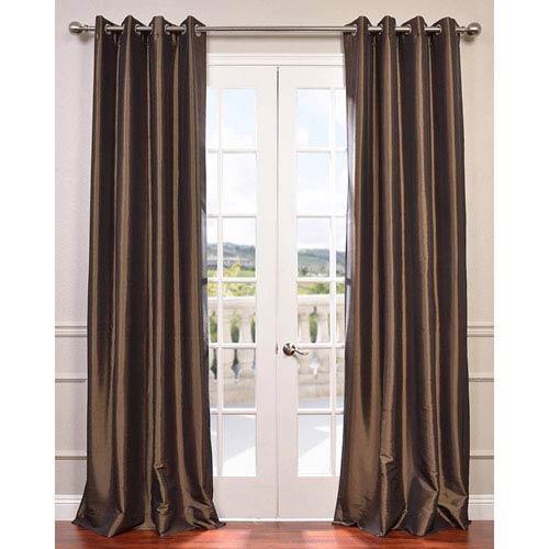 Half Price Drapes Mushroom 120 x 50-Inch Grommet Blackout Faux Silk Taffeta Curtain Single Panel