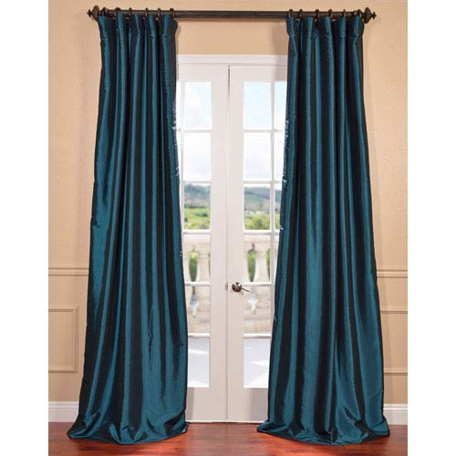 half price drapes mediterranean 108 x 50 inch blackout faux silk taffeta curtain single panel. Black Bedroom Furniture Sets. Home Design Ideas